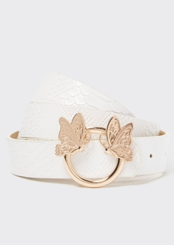 white butterfly buckle belt - Main Image