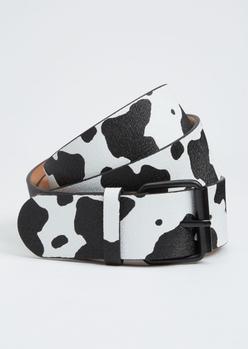 cow print faux leather belt - Main Image