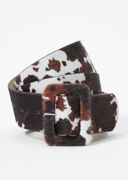 cow print oversized buckle belt - Main Image