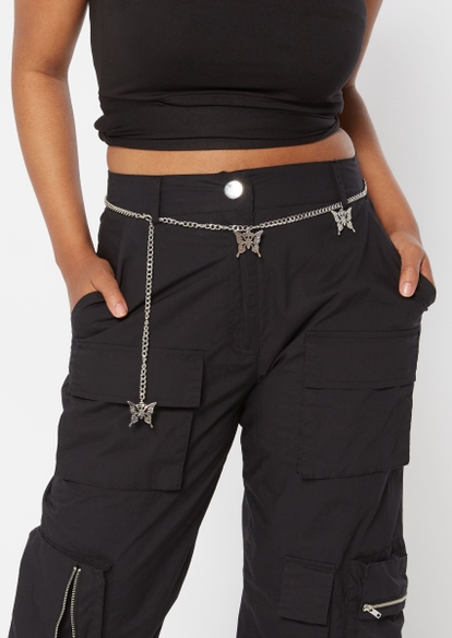 silver butterfly charm chain belt - Main Image