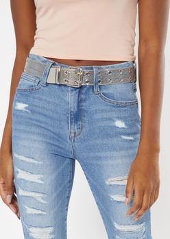 silver mesh grommet belt - Main Image
