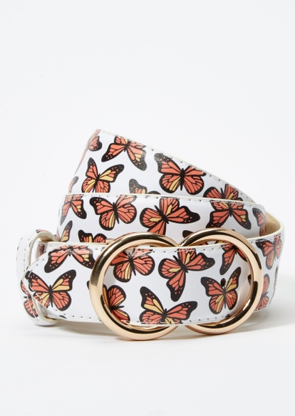 butterfly print double ring gold buckle belt - Main Image