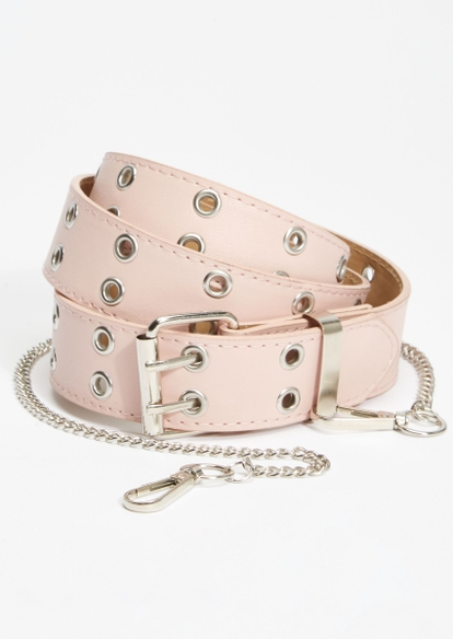 pink removable chain grommet belt - Main Image