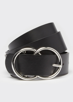 black double ring silver buckle belt - Main Image