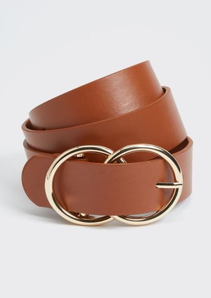 cognac double ring gold buckle belt - Main Image