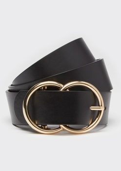 black double ring gold buckle belt - Main Image