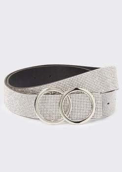 rhinestone double hoop buckle belt - Main Image