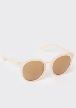 matte pink round lens sunglasses - Main Image
