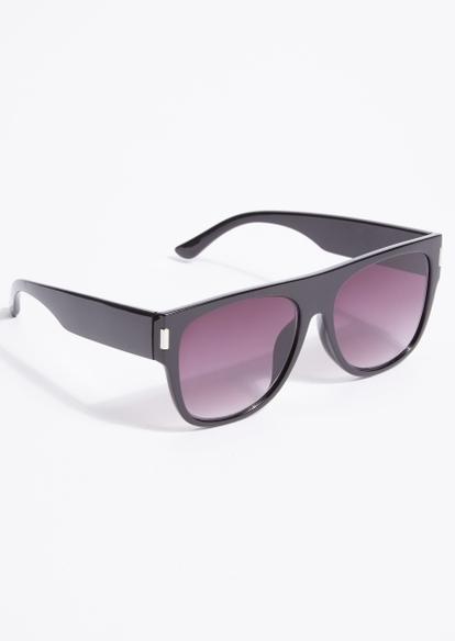 black mirrored straight top sunglasses - Main Image