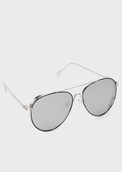 silver retro aviator sunglasses - Main Image