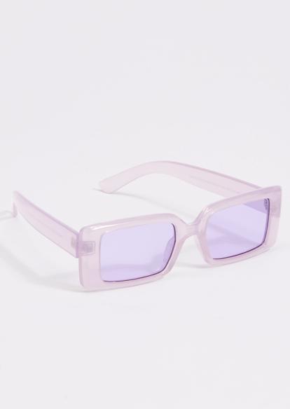 purple acrylic square sunglasses - Main Image