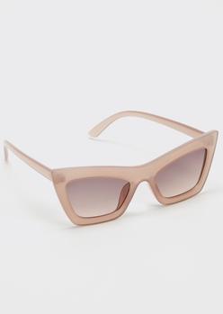 blush pink retro cat eye sunglasses - Main Image