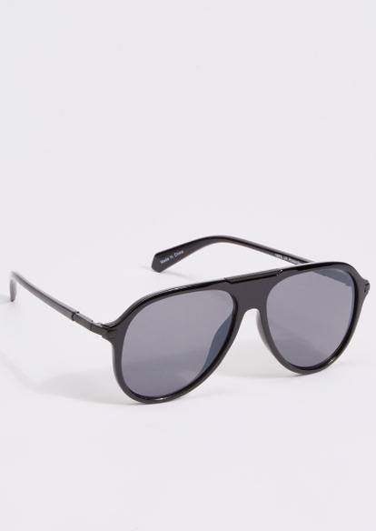 black monotone aviator sunglasses - Main Image