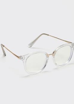 transparent round blue light glasses - Main Image