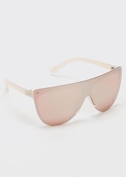 blush pink rimless shield sunglasses - Main Image