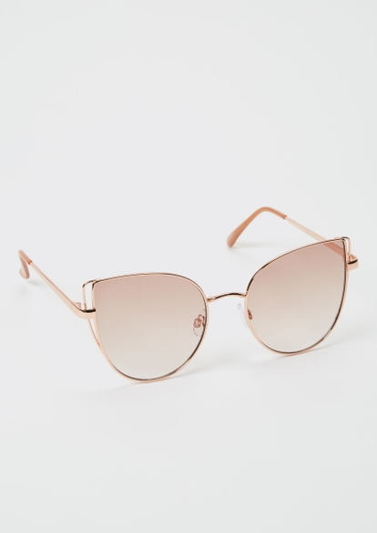 rose gold metal cat eye sunglasses - Main Image