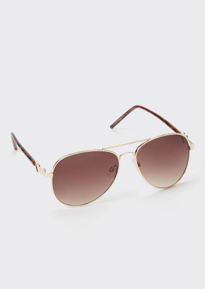 brown heart frame aviator sunglasses - Main Image