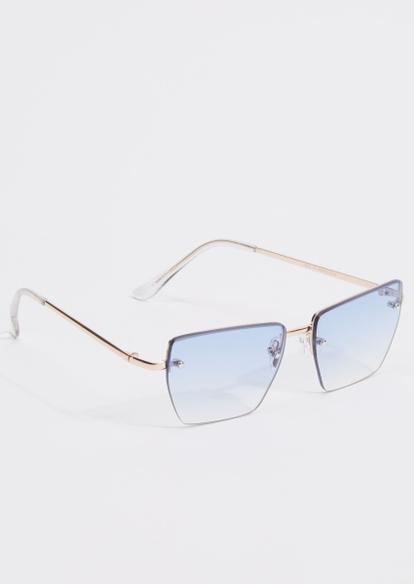blue ombre y2k square sunglasses - Main Image