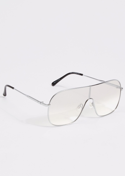silver monotone aviator sunglasses - Main Image