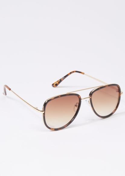 brown tortoise trim aviator sunglasses - Main Image