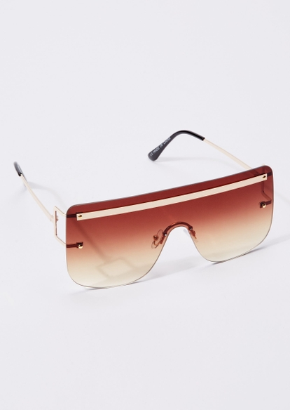 brown brow bar shield sunglasses - Main Image