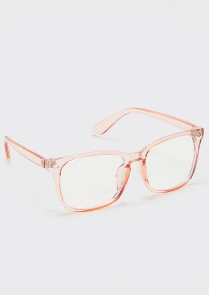 pink square blue light glasses - Main Image