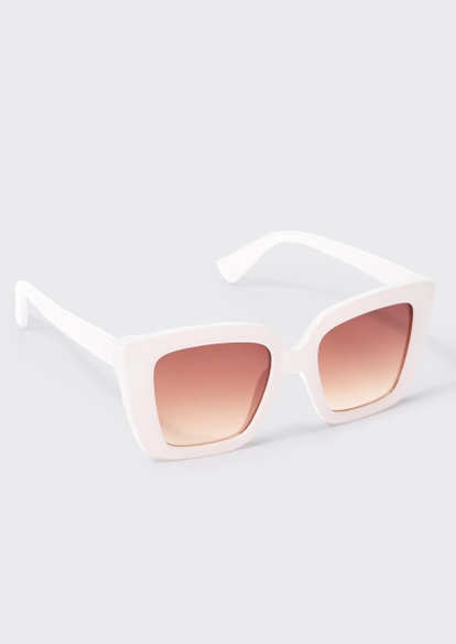 milky white square frame sunglasses - Main Image