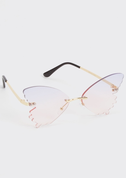pink butterfly wing sunglasses - Main Image