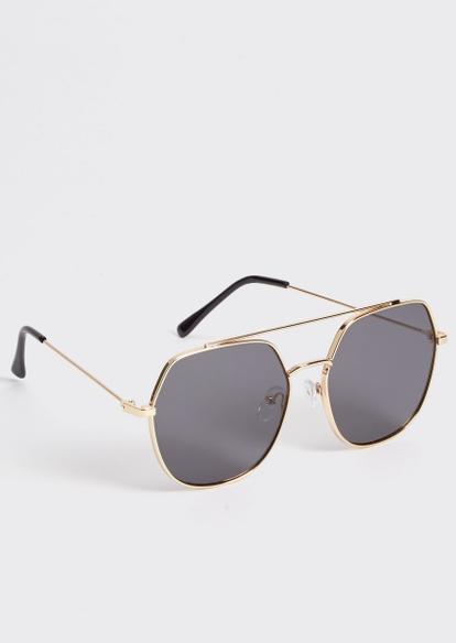 gold geo aviator sunglasses - Main Image
