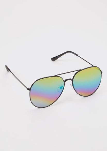 black holo mirrored aviator sunglasses - Main Image