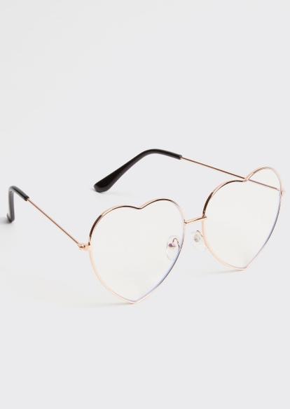 gold heart eye blue light glasses - Main Image