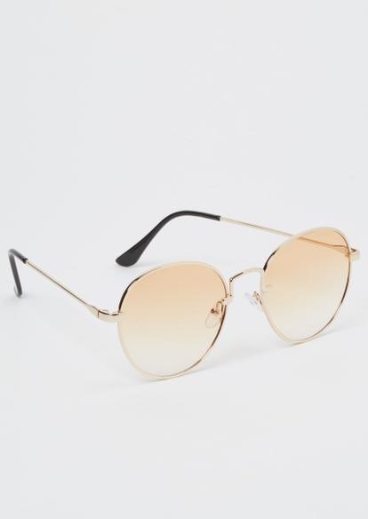 gold circle lens sunglasses - Main Image