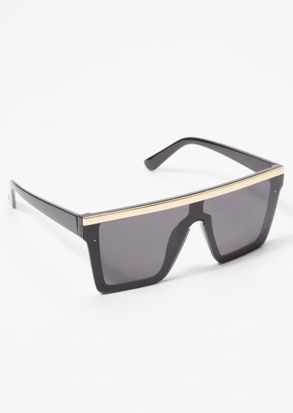black metallic bar shield sunglasses - Main Image