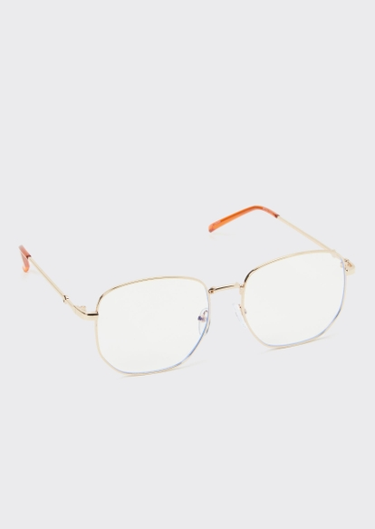 gold rounded blue light glasses - Main Image