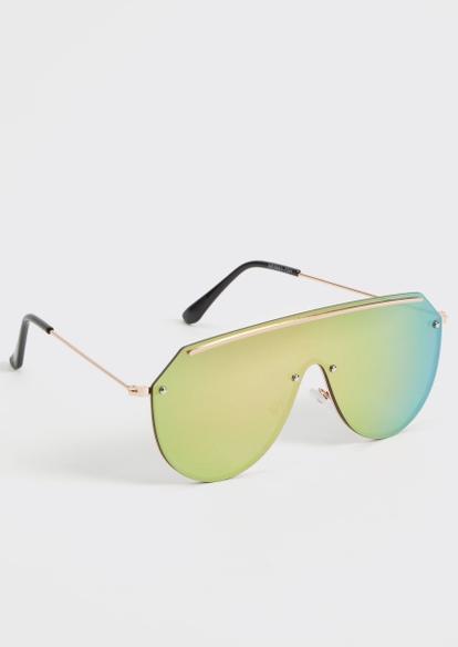 rose gold frameless shield sunglasses - Main Image
