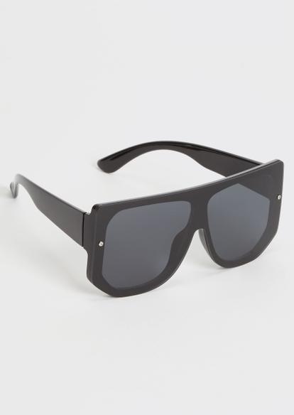 black oversized shield sunglasses - Main Image