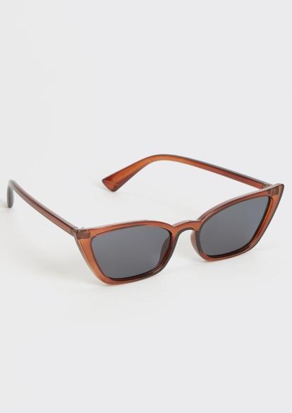 brown micro cat eye sunglasses - Main Image
