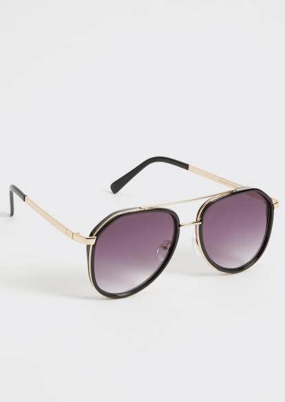 black and gold aviator sunglasses - Main Image