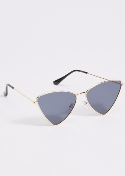 gold frame angled frame sunglasses - Main Image