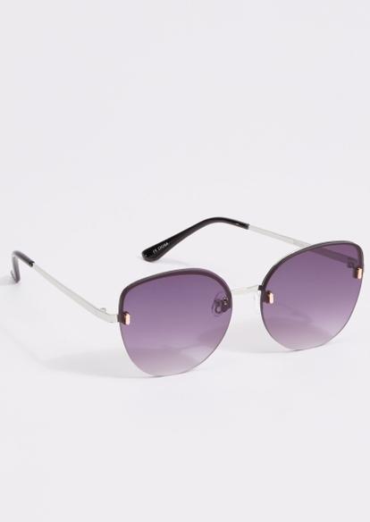 silver rimless smokey lens sunglasses - Main Image