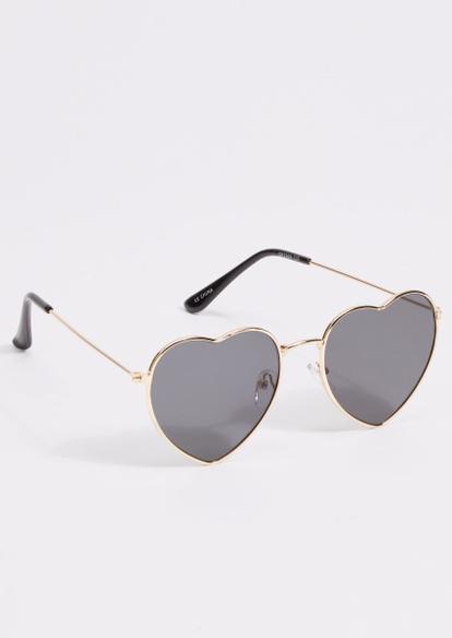 gold frame heart frame sunglasses - Main Image