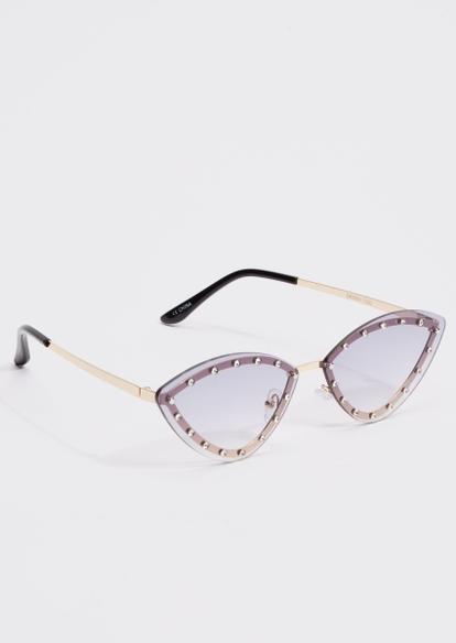 gold rhinestone cat eye sunglasses - Main Image