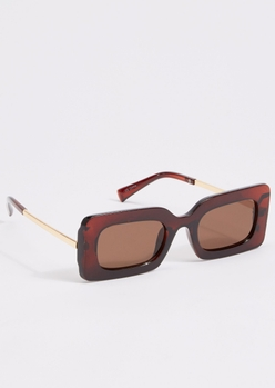 brown thick frame square sunglasses - Main Image