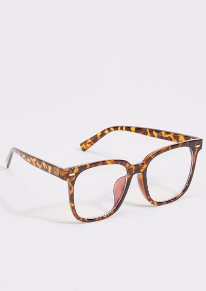 tortoise print blue light glasses - Main Image
