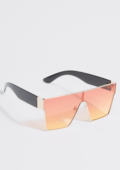 gold sunset shield sunglasses - Main Image