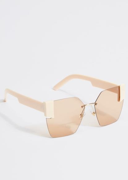 milky white geometric lens sunglasses - Main Image