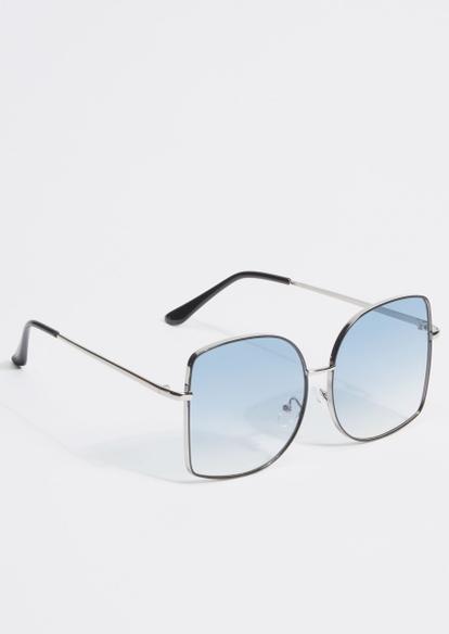blue lens silver frame sunglasses - Main Image