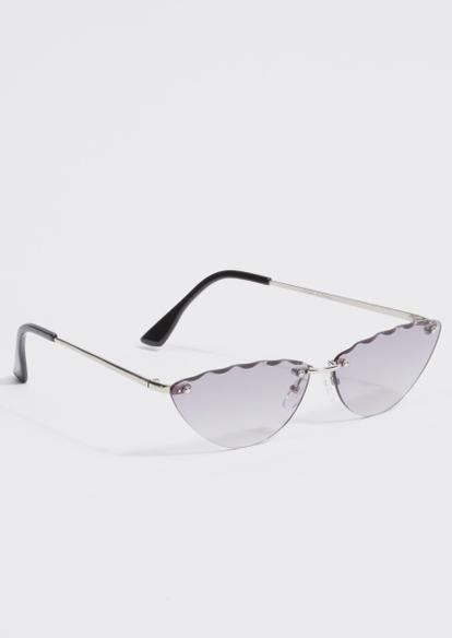 black wave detail cat eye mini sunglasses - Main Image