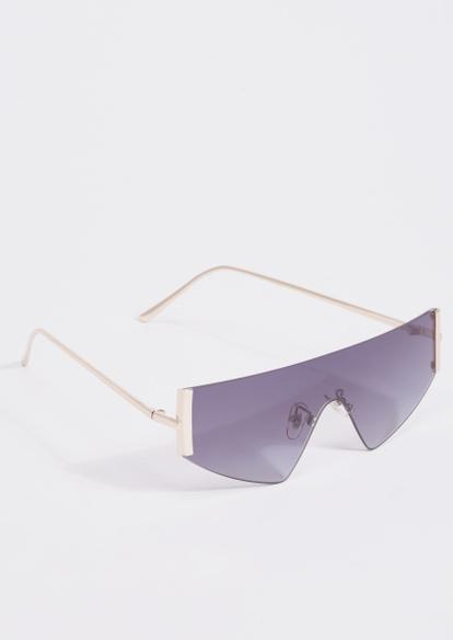 gold side bar shield sunglasses - Main Image