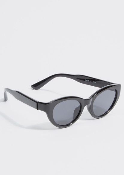 black plastic cat eye sunglasses - Main Image